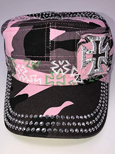 Embroidered with Rhinestones Cadet Cap Iron Cross Maltese Pink Camo Adjustable Strap Back