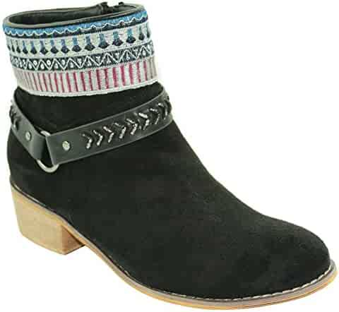 d7a8837f44e43 TravelNut Special Easter Sale Rebecca Boho Low Heel Booties with Zipper for  Women & Girls (