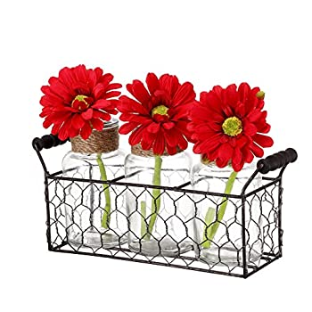 V-More Rustic Glass Bottle Flower Bud Vase with Chicken Wire Basket and Jute Rope 5.25-inch Tall for Home Decor Wedding Party and Celebration (Set of 1)