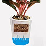 Leoie Transparent Rhombus Self Watering Flowerpot Pretty Plant Pot Home Office Garden Decoration Festival Gift