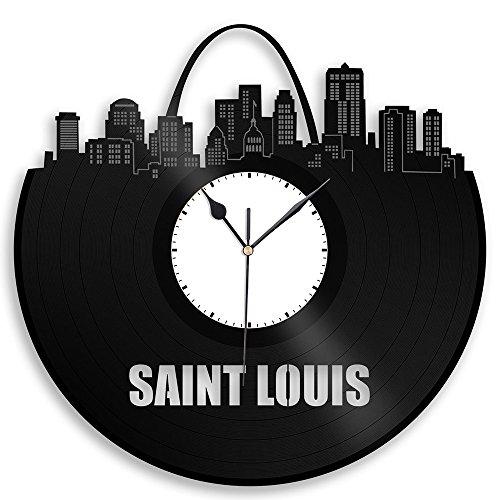 VinylShopUS – Saint Louis Vinyl Wall Clock Cityscape Personalized Decor