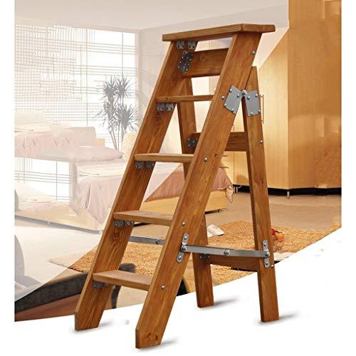 Inicio sólida Escalera Plegable de Madera - Unilateral Escalera Plegable Individual Espiga Recta de Madera sólida Loft Ascender por la Escalera Tamaño: 56.9x90cm