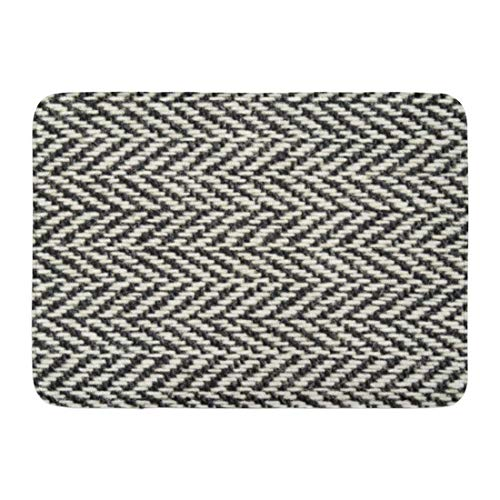 (Custom Bath Mat Herringbone Tweed Rustic Black White Knit Home Bathroom Decor Rug 15.7