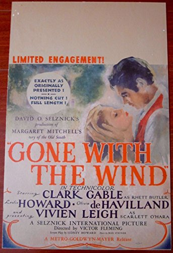 GONE WITH THE WIND - VINTAGE 1940 WINDOW CARD POSTER - CLARK GABLE CLASSIC RARE