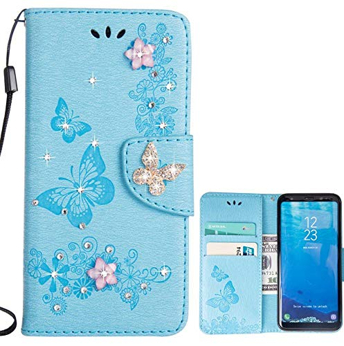for Samsung Galaxy S8 Plus Case LAPOPNUT Bling Sparkly Diamonds Gems Butterfly Design Premium PU Leather Flip Wallet Case with Card Holder Magnetic Kickstand Cover, Blue