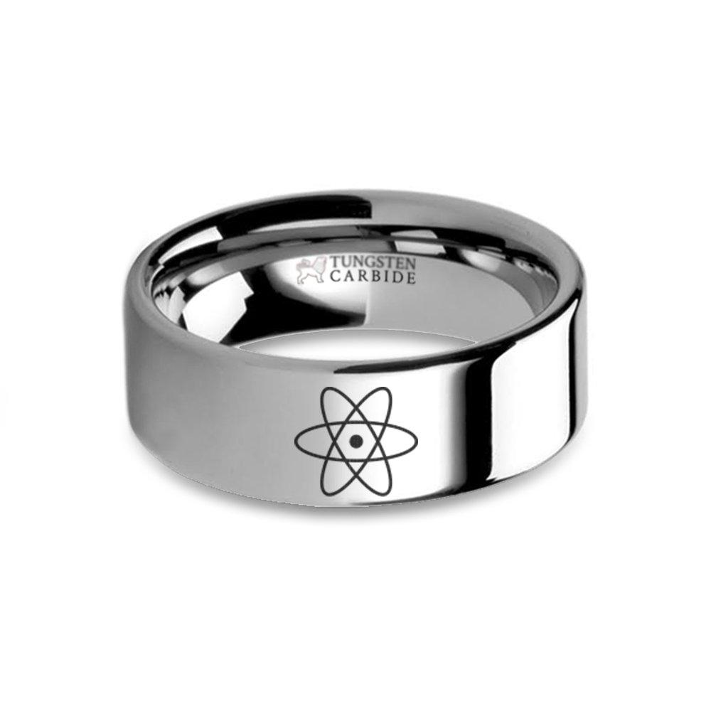 Atom Nucleus Proton Electron Laser Engraved Tungsten Wedding Band 8 mm