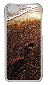 Foot prints on the sand Custom iPhone 5C Case Cover Polycarbonate Transparent