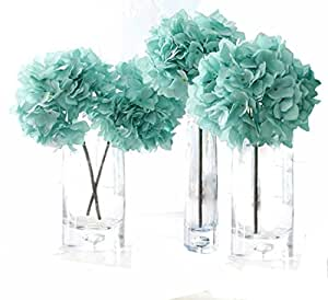 Helen Ou@ 4 Pcs Artificial Hydrangea Flowers Great for Wedding and Home Decoration Blue 1