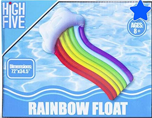 SD Rainbow Kids Adults Teens Float Bonus SD Inflatable Puffy The Cloud Cup Holder Float Loungers Backyard Fun Play Center Lounge Water Slide Inflatable Summer Outdoor Pool Fun Swimming (Cloud Sd)