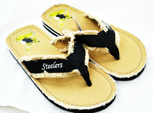 Pittsburgh Steelers official NFL Unisex Contoured Retro Flip Flop Beach Shoes Sandals slippers size Large forever collectibles from SteelerMania