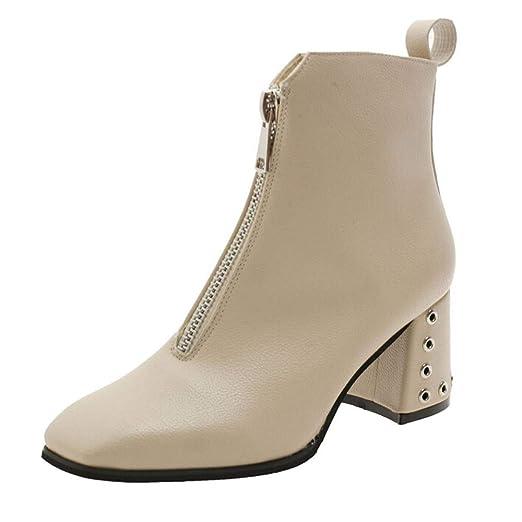 23f6975a22b Amazon.com: Women's Square Toe Zipper Shoes, NDGDA Leather Square ...