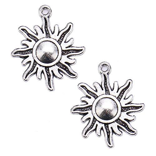 (JETEHO 100 pcs Silver Sun Pendant Ancient Silver Findings Pendant Making DIY Jewelry Bracelet Necklace)