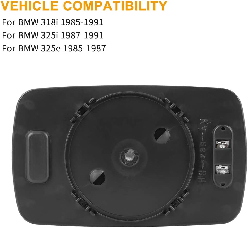 X AUTOHAUX Mirror Glass Heated with Backing Plate Passenger Side Right Side Rear View Mirror Glass for BMW 318i 325i 325e