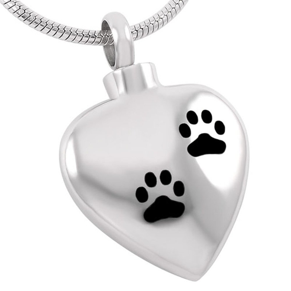 Double Dog/Cat Paw Print In My Heart Cremation Jewelry Keepsake Memorial Urn Necklace For Pet
