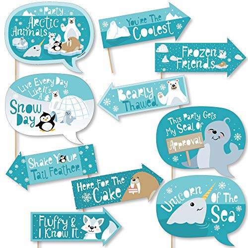 Funny Arctic Polar Animals - Winter Baby Shower or Birthday Party Photo Booth Props Kit - 10 -