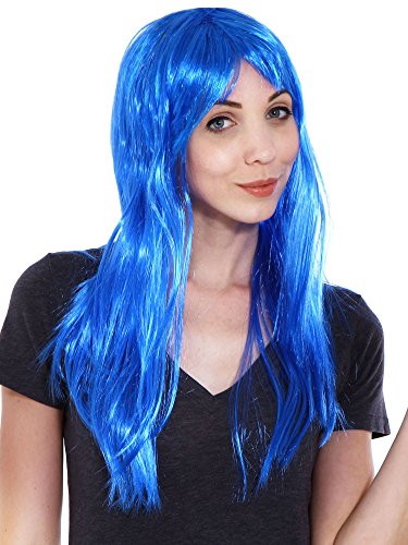 Simplicity Women's Girl Long Straight Full Hair Wig Costume Halloween, Blue