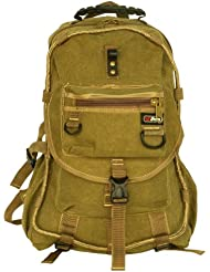 Blancho [Own Propert] Multipurpose canvas Outdoor Backpack / School Bag - Khaki