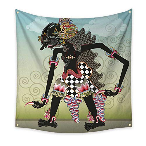 (BlountDecor Pattern Tapestry Knight Character on Shadow Puppets 70W x 70L Inch)