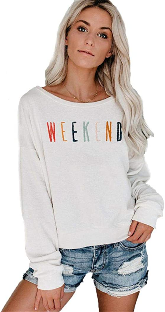 LEANO Women Casual Letter Print Sweatshirt Long Sleeve O-Neck Pullover Tops Fashion Hoodies