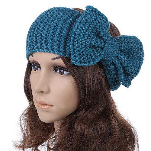 Women's Crochet Big Bow Knitted Winter Headband 2 (SkyBlue) Knitted Bow