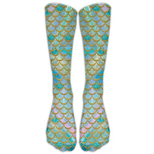 FUNINDIY Watercolor Mermaid Scale Costume Cosply Socks Halloween Funny Champion Athletic Leggings Knee High Stockings