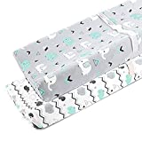 Baby Bassinet Changing Table Stretchy Changing Pad Covers for Boys Girls,2 Pack Jersey Knit,Elephant & Whale