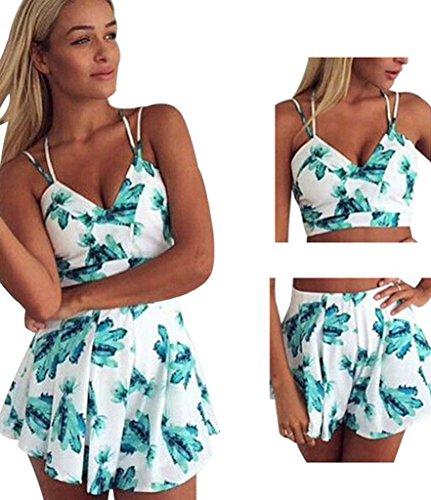 Honeykoko Mujeres Crop Top Y Shorts 2 piezas Culottes Beach Bikini Dresses Cielo azul