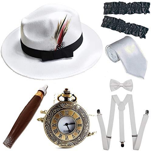 1920s Trilby Manhattan Fedora Hat, Plastic Cigar/Gangster Armbands/Vintage Pocket Watch,Suspenders Y-Back Trouser Braces,Pre Tied Bow Tie,Tie,White&White]()
