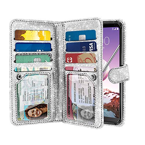 NEXTKIN Case Compatible with LG Stylo 4, Sparkling Glitter Dual Wallet Folio TPU Cover, 2 Pockets Double Flap, Multi Card Slots Snap Button Strap for LG Stylo 4 - Silver