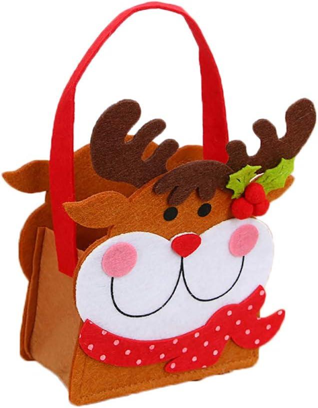 Topdo 1 Pieza Bolsa de Regalo Navidad con Cajas de Tela no Tejida Elk Lindo Portátil Gift Bag para Navidad Fiesta de Boda Bolsas de Regalo Marrón 20 * 13cm