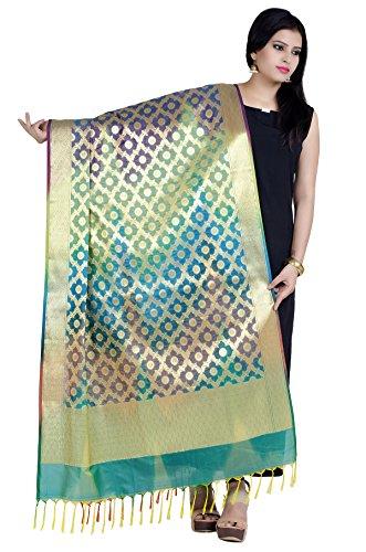 Chandrakala Women's Handwoven Green Cutwork Brocade Banarasi Dupatta Stole Scarf,Free Size (D151GRE) - Brocade Silk Scarf