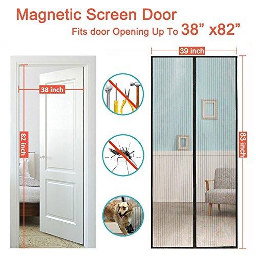 Magnetic Screen Door Fits Door Up To 38 x 82 Inch, Heavy Mesh Curtain With Full Frame Velcro, Magnet Screen for French Door/Sliding Glass Door By (Frame Sliding Glass Door)
