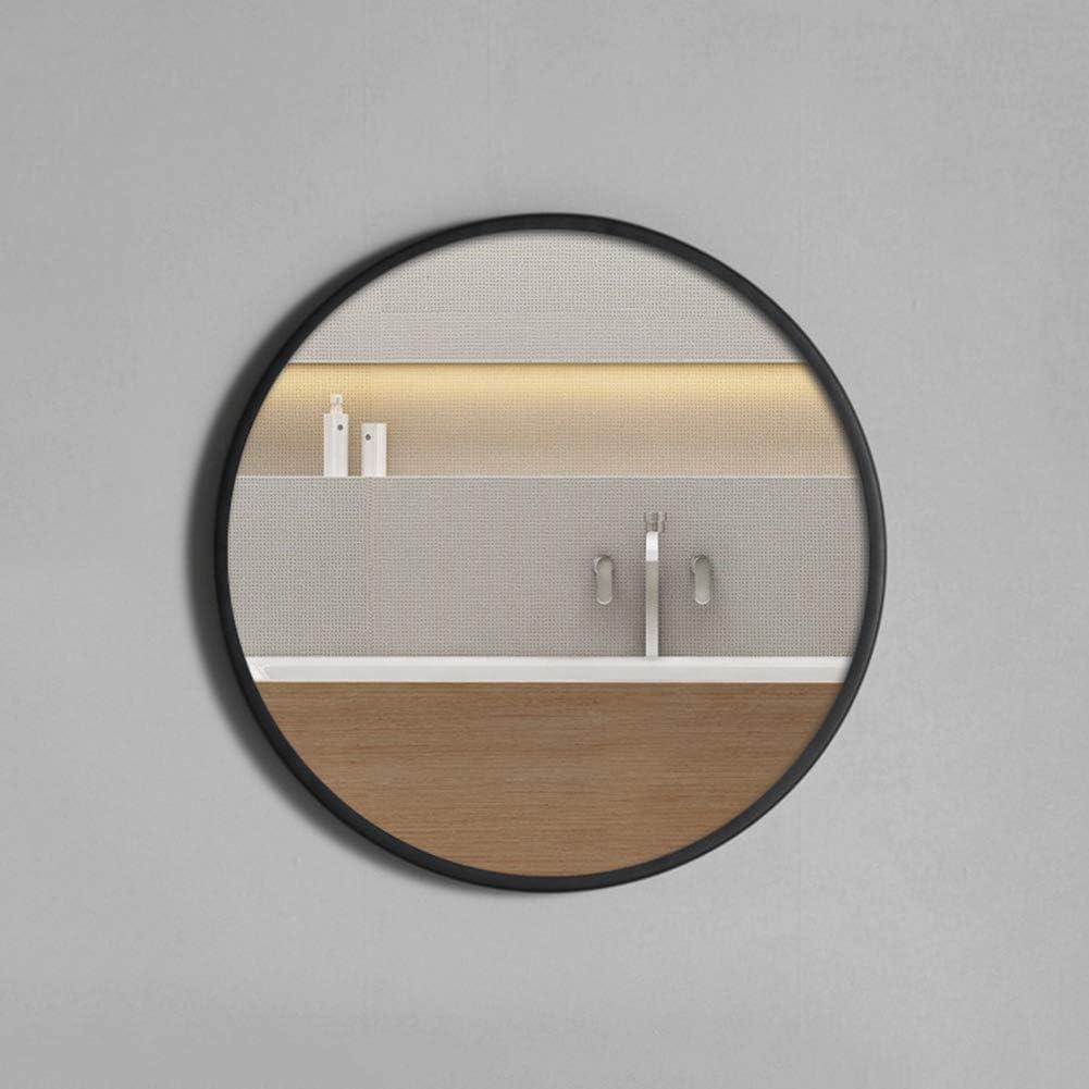 CZY Espejo de Baño Simple Nórdico Inodoro de Moda Hierro Forjado Espejo Redondo Colgante de Pared Perforación Libre Ducha Espejo Redondo,Negro