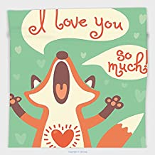 Vipsung Microfiber Ultra Soft Hand Towel-Lifestyle Decor I Love You So Much Fox Humor Romance Birthday Celebration Graphic Mint Green Ginger For Hotel Spa Beach Pool Bath