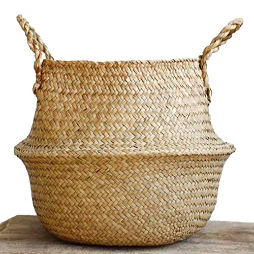 Large Seagrass Belly Basket Plant Pot Cover and Storage with Handles, Laundry, Picnic, Pot Cover | Natural Hand-Women Handmade, Soft Lightweight, Foldable |Great Housewarming Gift by NATURALNEO by NaturalNeo
