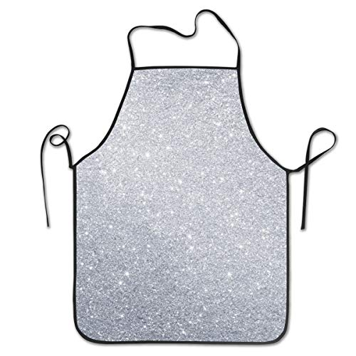 COLOMAKE Women Girls Polyester Retro Adjustable Bling Diamond Style Sliver Pattern Aprons for Kitchen Cooking Baking