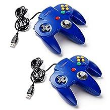 2 Pack kiwitatá Nintendo Classic Retro N64 USB Controller,Nintendo 64 Bit USB PC Game Controller for Windows PC/MAC Raspberry Pi iOS/Android System Blue