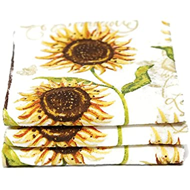 Designer 3 Pack Cotton Kitchen Towels (Sunflowers)