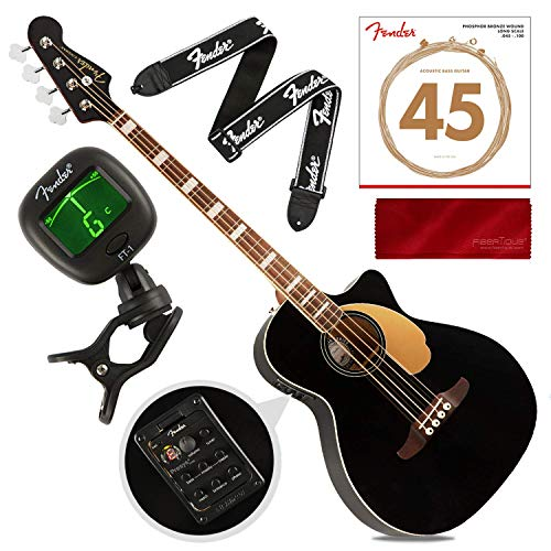 Fender Kingman Acoustic Bass Guitar (V2), Black with Bag and Tuner, Strings, Strap, Polishing Cloth Bundle