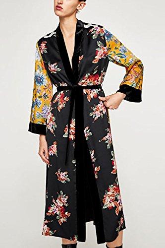 Long Floral Las Albornoces Kimono Cinturon Cardigans Mujeres Blusa De Amarillo con aq5nEp75w