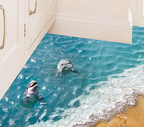 (3D Beach Floor Stickers, Keepfit Removable Mural Decals Dolphin, Starfish and Sea Wall Decor for Baby Kids)