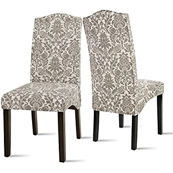 Good This Item Merax Fabric Dining Chairs Flower Patterned Fabric Accent Chair  With Solid Wood Legs, Set Of 2 (Beigeu0026Flower)