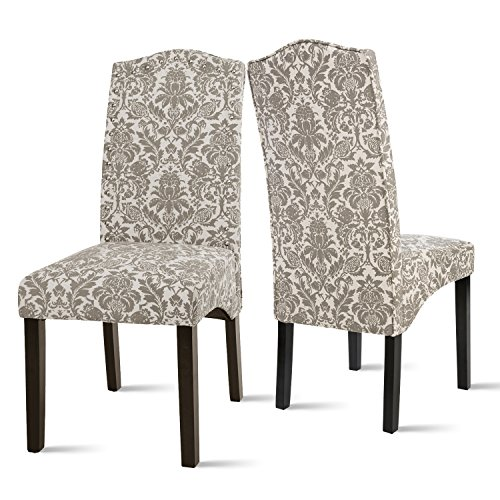 Merax Fabric Dining Chairs Flower Patterned Fabric Accent Chair with Solid Wood Legs, Set of 2 (Beige&Flower)