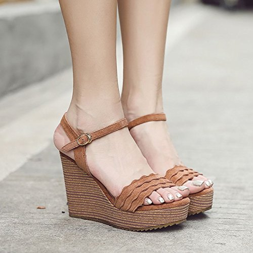 Mot Sandales Épaisses La Plate SHOESHAOGE Femmes De Un Boucle Étanche unie Avec Semelles Des Forme Couleur Chaussures L'Automne qIW46Y