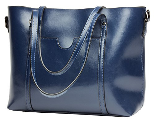 Molodo Womens Satchel Hobo Stylish Top Handle Tote Genuine Leather Handbag Shoulder Purse (Blue) by Molodo