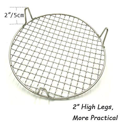 Turbokey Round Grill Barbecue Net, Cross-wire Cooling Rack 2'' Height Durable Stainless Steel Multi-Purpose Baking Barbecue Rack/Food Steamer/Cooking/Baking/Steaming Rack Dia 13'' (330mm/13'') by Turbokey (Image #2)