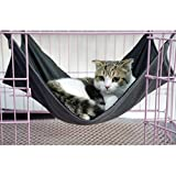 KamaLM Cat Hammock Cage Oxford Waterproof Bed Hanging Pet Kitten Cage Ferret, Two Sides for Winter and Summer, Black
