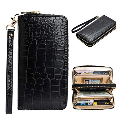 Black Crocodile Wallet Women Large Capacity Double Zipper Around Wallets Rfid for Women with Wrist Strap