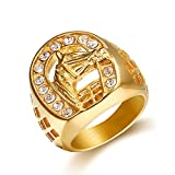 Jewelrysays Hip Hop Jewelry Mens Personality Fashion Zircon Bling Ring Gold Horse Head Ring(9)