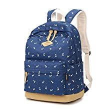 Canvas backpack/The little deer print backpack/Computer bags-A